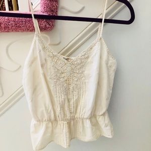 Forever 21 boutique White Beaded Tank Top